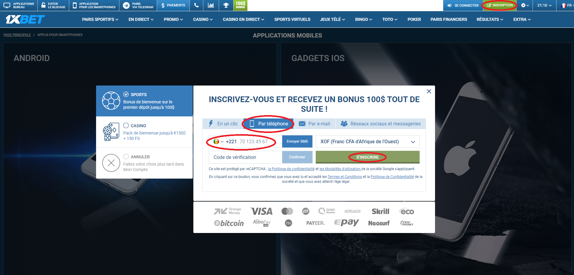 L'application 1xBet Android site web pour les gadgets mobiles