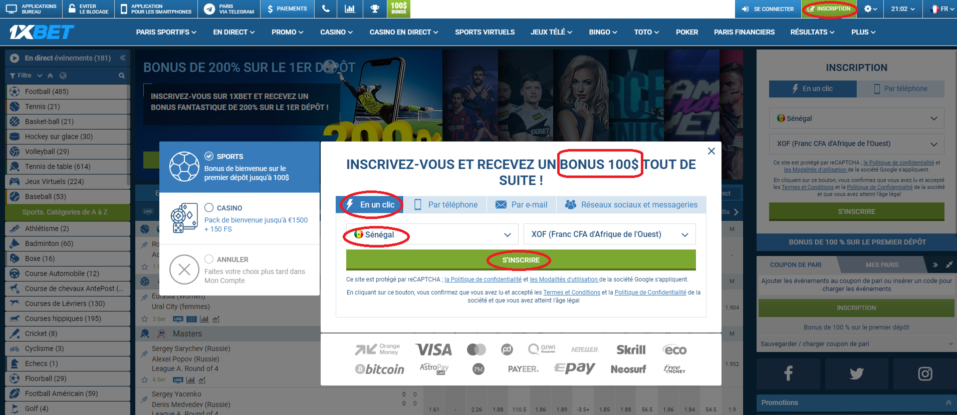 1xBet Sénégal bookmaker en ligne