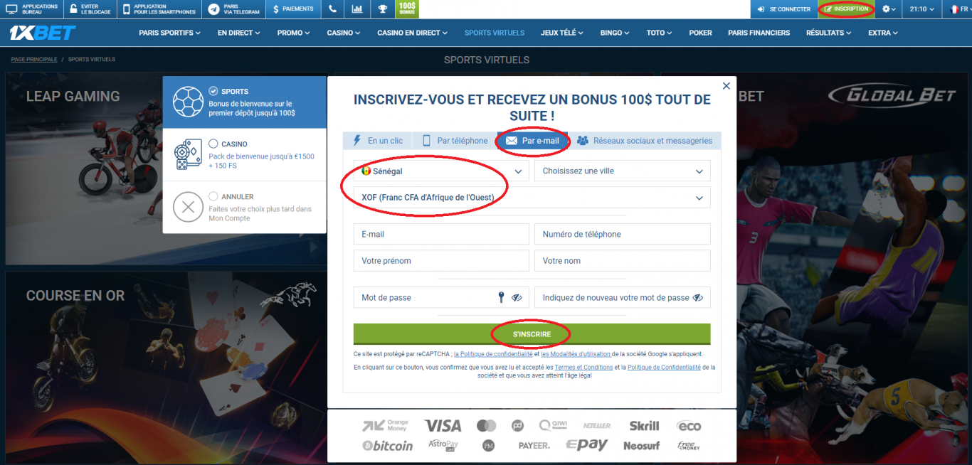Inscription sur le comment parier sur 1xBet